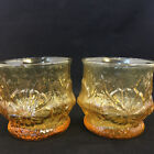 Set of 2 Vintage 1980s Anchor Hocking Amber Rain Flower Tumblers Drinking Glass
