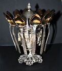 Greek Russian Decorated Sterling Silver Sugar Bowl with 12 Spoons