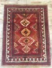 Vintage  Caucasian Handwoven Rug With Geometric Design