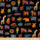 MYTHICAL JUNGLE Animals Black Laurel Burch Quilt Fabric 2137 3M Sold by 1 2 yd