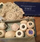 Interesting Vintage Box And Crochet Thread w Unfinished Project