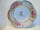 Hand painted pink and white floral porcelain serving bowl.