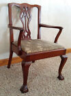 Antique Vtg Chippendale Style Claw Foot Mahogany Salesman Sample Chair