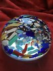 FLAWLESS Stunning MURANO Italy 4 1 2 Multi Color Millefiori Crystal PAPERWEIGHT
