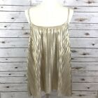 H  M Womens Size Large Metallic Gold Pleated Cami Tank