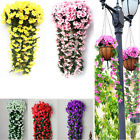 Hanging Wall Artificial Fake Violet orchid Flower Rattan Plant Home Garden Decor