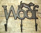 Cast Iron DOG WOOF Towel Coat Hooks, Hat Hook, Key Rack GARDEN PUPPY