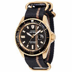 DETOMASO San Remo Mens Diving Watch Gold Plated Automatic Nylon Strap 30 ATM New