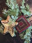Hand Made Primitive Rug Hooked Ornaments