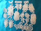 34 PIECE LACE APPLIQUE 10022 A RAYON WHITE 8 VARIETY FLOWER ROSES