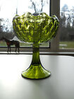 Lg Green Indiana Quilted Diamond Duette Pedestal Compote Vase Candy Dish Planter
