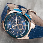 YVES CAMANI QUENTIN Mens Watch Rosegold Blue Chronograph Leather Strap New