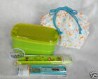 Japan Bento Lunchbox 5p Set Chopstick Belt Food Container Green Lunch box Ladies