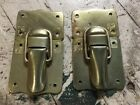Vintage Steamer Trunk Tool Box Latches Hardware Brass With Brads