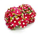 50Hot Pink Mulberry Paper Tiny Daisy Flower Craft Scrapbook Card Embellishments