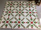 Green Applique Hand Quilted Quilt w/Initials