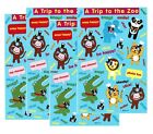 4 Sheets AT The ZOO Scrapbook Stickers Animals Lion Monkey Alligator