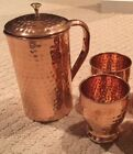 NEW Set of 100 Pure Copper Hammered Pitcher Jug and 2 Glasses