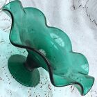 Vintage Teal Green Art Glass Pedestal Console Footed Bowl w/ Wavy Edge Rim 5x11