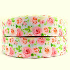 1 PINK ROSES grosgrain ribbon 3 5 10 25 yds boutique hair bow FLORAL RIBBON