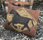 Hand Made Primitive Rug Hooked Pillow