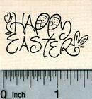 Happy Easter Rubber Stamp with Rabbit Ears and Eggs E32113 WM