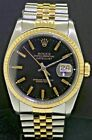 Rolex Datejust 16233 SS/18K gold automatic men's watch w/ black dial E-serial #