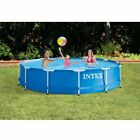 Intex 12 x 30 Metal Frame Above Ground Swimming Pool with Filter Pump W