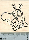 Christmas Pitbull Rubber Stamp Dog with Antlers and Bone J31116 WM