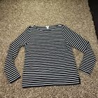 J Crew Large Blouse Striped Black and White Scoop Neck Long Sleeves Cotton