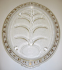 Fire King Oval Footed Meat Platter Tree of Life Juice Wells Gold Fruit Trim