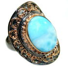 Larimar Ring size: 8 -adjustable 925 Sterling Silver + Free Shipping  by SilverR