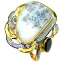 Dendritic Agate Ring size: 7 1/4 925 Sterling Silver + Free Shipping  by SilverR