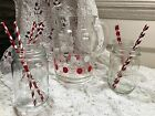 VINTAGE RETRO GLASS DRINKS PITCHER  RED WHITE POLKA DOT SUMMER ICE TEA LEMONADE!