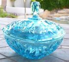 Hazel Atlas Capri Blue Pinwheel Pattern Triangular Candy Dish with Lid