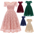 Women's Short Sleeves Lace Formal Wedding Cocktail Bridesmaid Prom Party Dresses