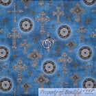 BonEful FABRIC FQ Cotton Quilt Blue White Gold Jewel*ry Cross Catholic Religious