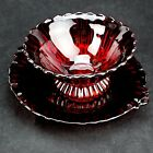 Vintage Depression Glass Ruby Red Bowl with Matching Under-plate