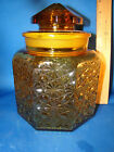 Vintage L.E. Smith Amber Daisy And Button Canister 8