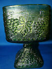 Indiana Glass Harvest Grape Green Square Pedestal Bowl Candy Dish Compote @23