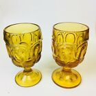 L. E. Smith Blue Moon and Stars Wine Water Goblets Set of 2 Glass Vintage 60s