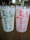 2 1960s Vintage Anchor Hocking 9oz Glass New Mexico Land Of Enchantment Tumblers