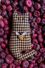 Primitive Spring Yellow Hounds Tooth Wool Cat Ornie w Bee Button, Ornament