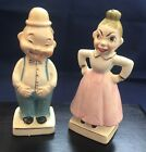Antique Japanese Porcelain Salt and Pepper Shakers two faced husband and wife