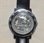 AWESOME Unisex Steampunk Automatic Skeleton Watch by GOER Black Leather Band