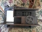 Antique Wood Cabin Shelf with mirror, drawer cute for doll,troll,Shaver display