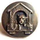 ANTIQUE 19th CENTURY SILVER METAL BUTTON w/PUPPY DOG IN HIS HOUSE ~ 1 1/8