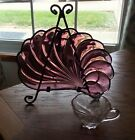 8-Piece Hazel Ware Atlas Amethyst Glass Colonial Swirl Seashell Snack Set Plates