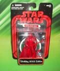 STAR WARS RED METALLIC 2005 EDITION HOLIDAY DARTH VADER FIGURE WITH WREATH BASE