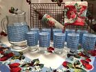 VINTAGE BLUE WHITE GINGHAM GLASS PITCHER AND 8 MATCHING GLASSES FARMHOUSE CHIC